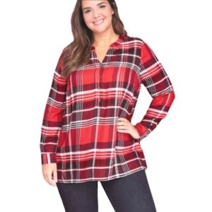 Lane Bryant plaid swing popover shirt